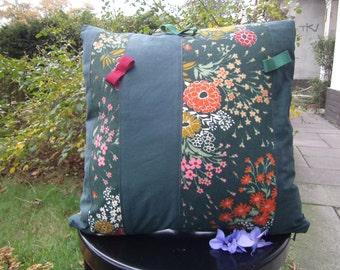 """green Pillow - colourful Pillow - Bow Pillow -  handmade Pillow - 16""""x16"""" - decoratives Kissen - Boho Pillow -"""