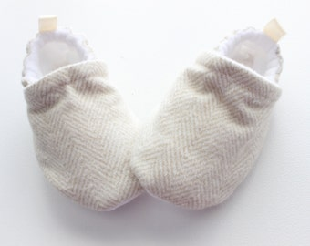 flannel beige herringbone baby shoes, Soft Sole, Fabric Baby Booties - great gift idea!