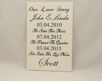 Personalised Wedding Sign, Wedding Anniversary Gift, Our Love Story, Wooden Plaque, Shabby Chic, Vintage, Date, Mr & Mrs, 279