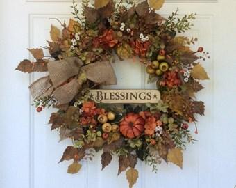 Fall Summer Wreath-Fall Door Wreath-Autumn Wreath-Eucalyptus Wreath-Berry Wreath-Rustic Wreath-Pumpkin Wreath-Thanksgiving Wreath