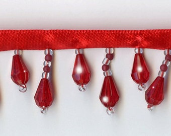 50% Off!  Scarlet Red Beaded Fringe Trim.   Now Only 3.35 a Yard.  Over 50 colors available.