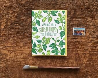 Wishing You a Super Hoppy Birthday, Beer Birthday Card, Beerthday Card, Letterpress Folded Card, Blank Inside