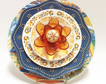 Orange Blue Glass Garden Flower - Garden Art - Plate Flowers - Art Flowers - Glass Flowers - Dish Flowers - Outdoor Decor - Garden Decor