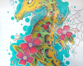 "Original 14""x24"" Colored Pencil Drawing Seahorse"
