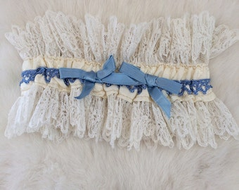 Vintage 1950's Something Blue White Lace and blue embroidery Garter