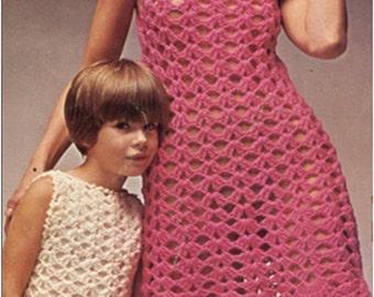 Crochet Pattern Vintage 70s Crochet Dress Pattern-Crochet Girl Dress Pattern-Crochet Mother and Daughter Dress Pattern