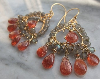 sunstone earrings chandelier labradorite earrings Bollywood orange gray gemstone 24k Bali gold vermeil chandelier earrings boho