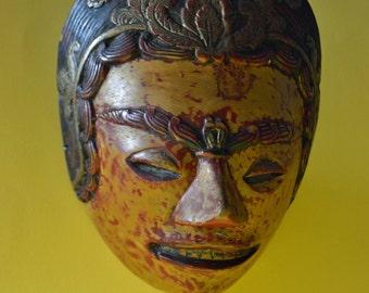 Vintage Indonesian Mask, Vintage Wooden Mask 1960s