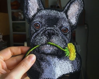 Embroidered dog's portrait - French Bulldog. Patch.