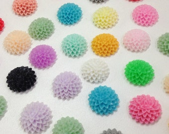 NEW - 15mm Resin Flower Cabochon - Mixed colors - mum- QTY 10