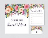 Floral Baby Shower Diaper Candy Bar Game - Printable Guess The Sweet Mess - Flower Baby Shower Candy Game Cards, Sign and Labels - 0025-B