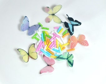 Edible Pastel Butterflies Wafer Rice Paper Micro Sprinkles Rainbow 3D Butterfly Cupcake Toppers Cake Pop Decorations