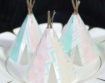 edible teepees 3d x 5 boho mint cream pink tipi wafer paper bohemian wedding cake decorations