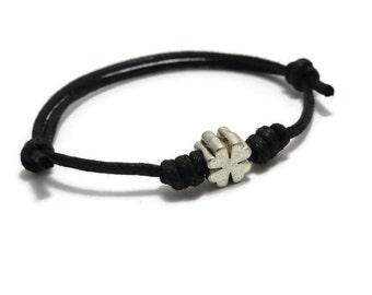 Clover Bracelet, Clover Anklet, Clover Jewelry, Waxed Cord Bracelet, Woman Gift, Womens Gift, Gift for Her, Sliding Knot, Casual Bracelet