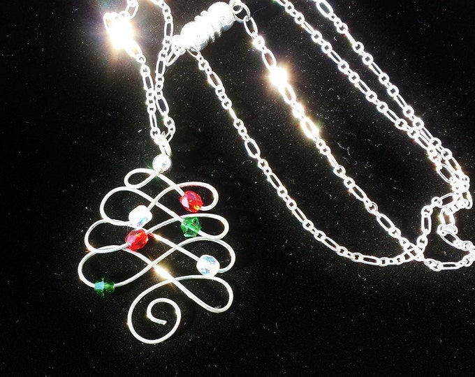 Christmas Tree Pendant, Silver Wire Wrapped Celtic Style Minimalist Charm for Winter Solstice Celebration, Holiday Parties, Daughter Present