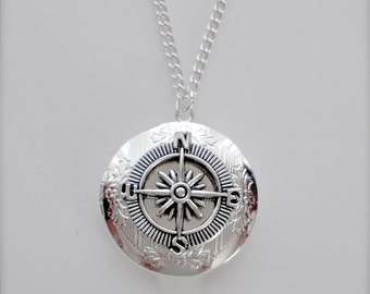 True North Compass Locket Necklace, Round Silver Locket, Nautical Silver Tone Necklace, Nautical Locket Necklace, Compass Locket Necklace