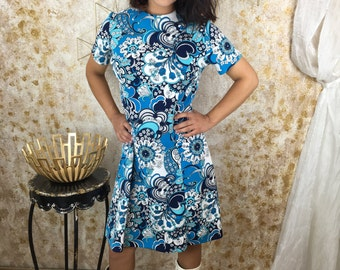 Blue Floral Dress, Vintage 60s Dress, Women's Blue Dress, Puritan Dress, 1960s,  Size Large