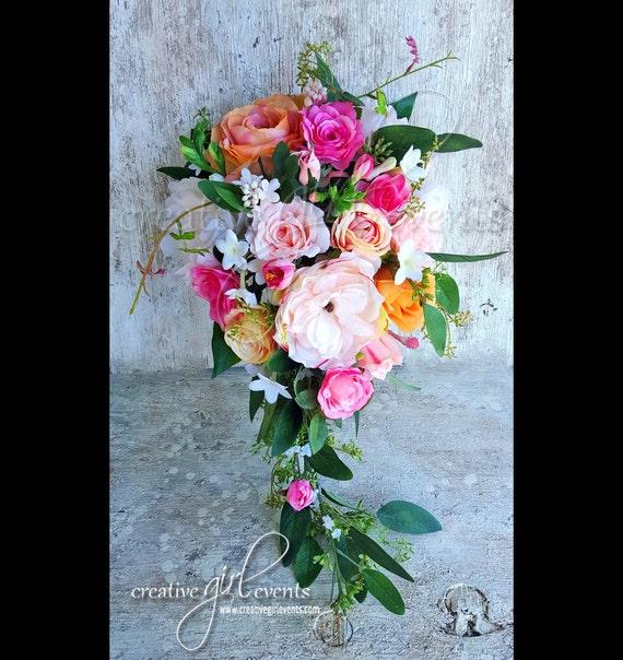 5 Wedding Bouquet Etiquette Questions You Need To Read: Cascade Bouquet Blush Peach Pink SUMMER GARDEN Bouquet