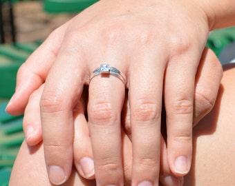 Square Aquamarine Ring, Aquamarine Solitaire, Aquamarine Silver Ring, March Birthstone Ring, Square Stone Mothers Ring, Square Stone Ring