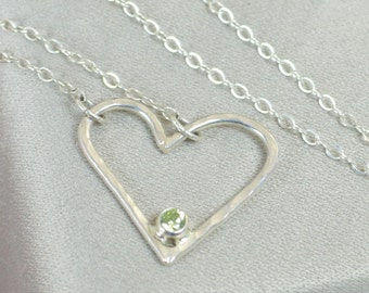 Peridot Heart Necklace, Sterling Silver, Mothers Necklace, August Birthstone Necklace, Peridot Necklace, Mother Necklace, Heart Pendant