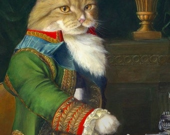 "martingifts Fine Art, Anthropomorphic Animal Paintings, CAT PORTRAIT ""WALDO"""