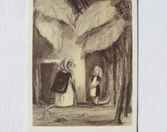 Thumbelina. Hans Christian Andersen. Illustrator Rudakov. Vintage Soviet Postcard - 1956. Izogiz Publ. Girl, Mouse