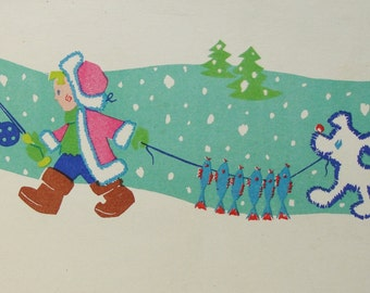 Vintage Soviet Postcard. Illustrator Kodatsky - 1966. Mystetstvo, Kiev. Boy, Fisherman, Dog, Fish, Firs, Snowflakes, Snow