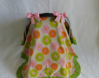CLEARANCE** Green and Pink Floral Ruffled Car Seat Canopy
