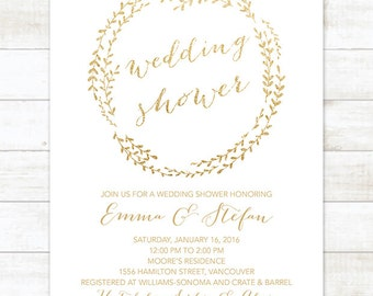white gold wedding shower invitation, printable white gold glitter wreath wedding shower invite