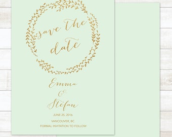 mint gold wreath save the date invite, save the date invitation, save the date announcement, save the date printable, wedding announcement