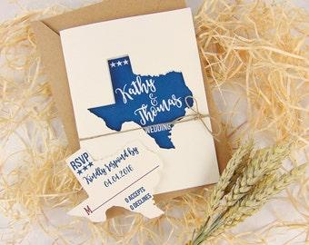 Texas Wedding Invitation Set, Custom Wedding Invitation, State Wedding Invitation, Rustic Wedding Invitation, Openable Invitation, Laser Cut