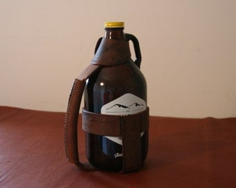 Buffalo Leather Growler Carrier