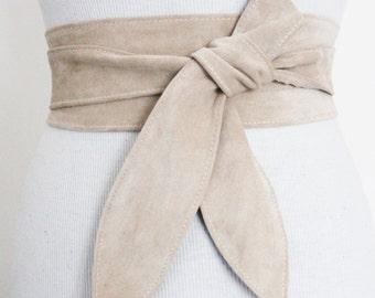 Cream Suede Leather Tulip Tie Obi Belt | Waist Tie Belt | Plus Size Obi Belts | Obi belt | Leather Corset Belt | Petite to Plus Size