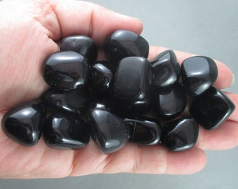 5 Black Obsidian Stones Polished - Apache Tears, Healing Stones, Root Chakra, Natural Healing Crystals & Stones, EMF Protection (T047)