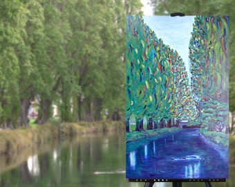 Large painting on canvas, original colourful art, trees ducks river, green blue landscape, Christchurch New Zealand, 30x20, free shipping