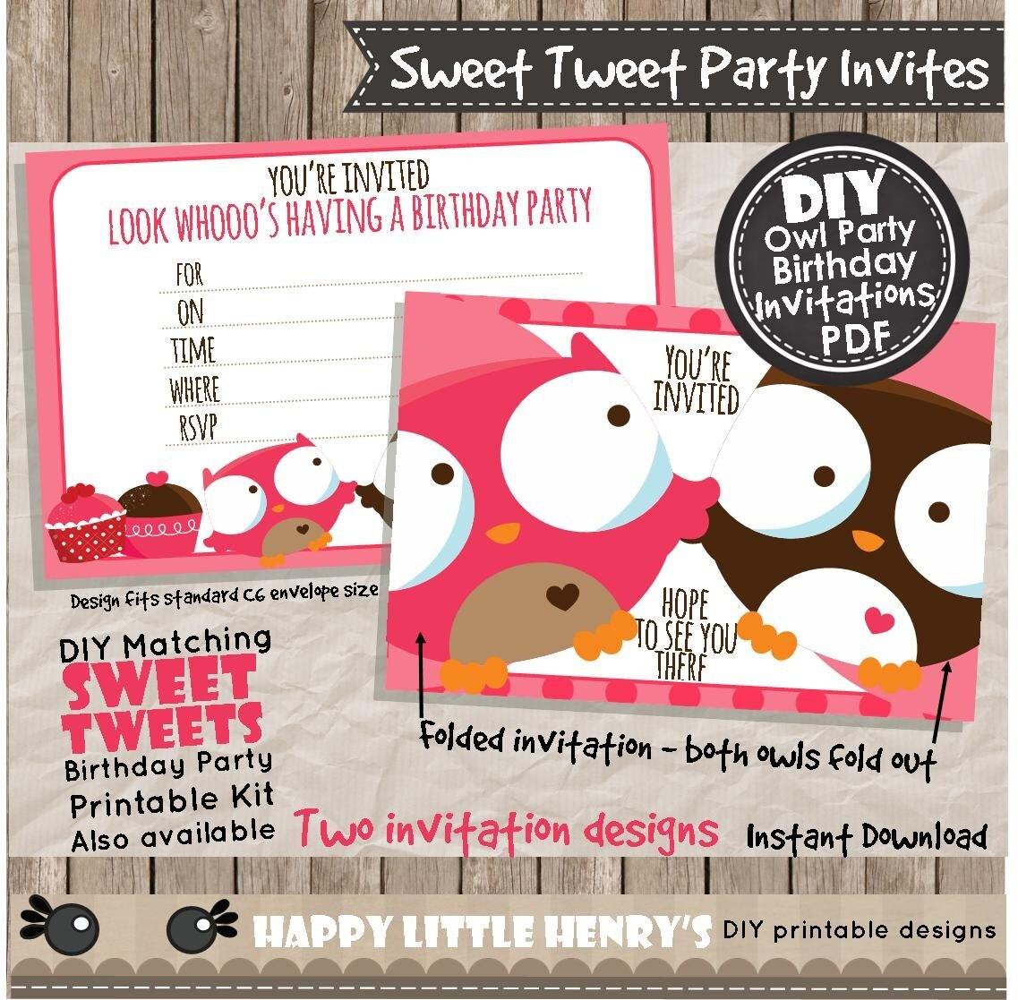 OWL PARTY INVITATIONS - Instant Download pdf - birthday invite ...