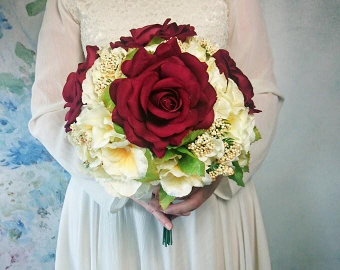 Best quality velvet silk flowers roses hydrangea vintage wedding bouquet cream burgundy Flowers satin ribbon winter elegant