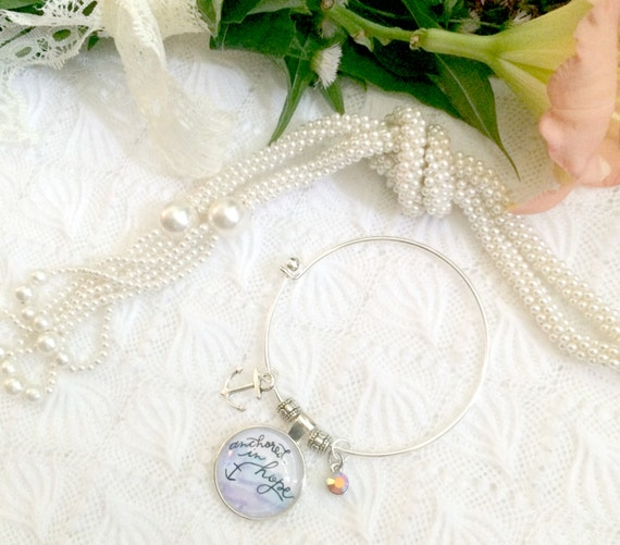 Silver Charm Bracelet * Hand-lettered & Illustrated Anchored in Hope Cabochon * Catholic Christian Jewelry