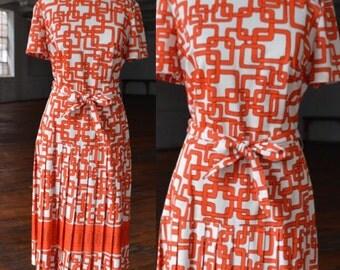 70s Orange and White Geometric Drop Waist Dress