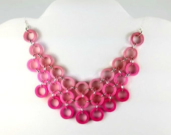 Pink Ombre Necklace Bib Necklace, pink statement necklace quilling, pink bib paper anniversary gift, pink collar necklace, first anniversary