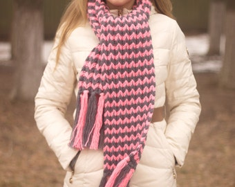 Ready to Ship - Long scarf, wool scarf, women's scarf, knitted scarf, LoveKnittings