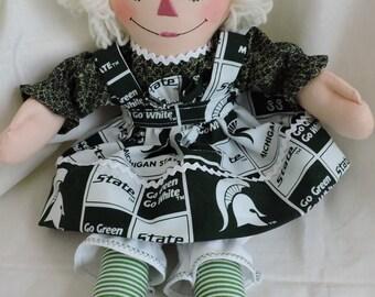 Cloth Doll, Michigan State Raggedy Ann - 15 inches