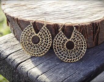 Brass Hoop Earrings. Gypsy Earrings. Tribal brass Earrings. Ethnic Style.