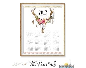 Printable 2017 Yearly Calendar Printable Wall Calendar Floral Antler Calendar Printable 2017 Wall Calendar Instant Download Digital Calendar