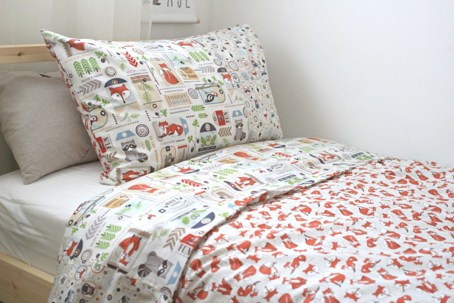 Woodland Bedding Set King Friends Flannel Sheet