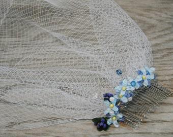 Blue Birdcage Veil - Floral Birdcage Veil - Blue Flower Veil - Something Blue - Wedding Birdcage Veil - Blue Wedding Veil