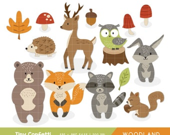 woodland clipart, woodland animals clipart, forest animals clipart, bear, deer, fox, raccoon, squirrel, rabbit, bunny, owl, hedgehog, fall