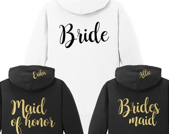Personalized Bride or Bridesmaid {with Name on Hood} Fleece Full-Zip Hoodie | Bridesmaid Hoodie | Bride Jacket | #1001