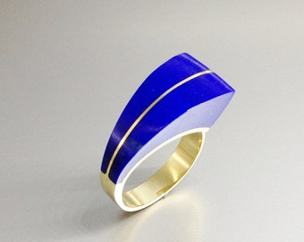 Ring with Lapis Lazuli and 18K gold uniquely and extraordinary designed - gift idea - AAA Grade Lapis - statement ring - solid gold