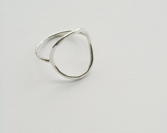 Sterling Silver Hammered Circle Ring, Minimalist Jewelry, Halo Ring